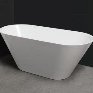 Kylpyamme Oval 158 ylivuotosuojalla valumarmori valkoinen