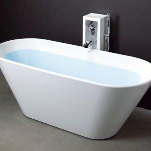 Kylpyamme Oval 170 tornihanalla valumarmori valkoinen