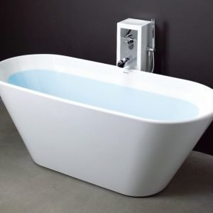 Kylpyamme Oval 170 ylivuotosuojalla ja tornihanalla valumarmori valkoinen