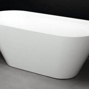 Kylpyamme Oval 170 ylivuotosuojalla valumarmori valkoinen