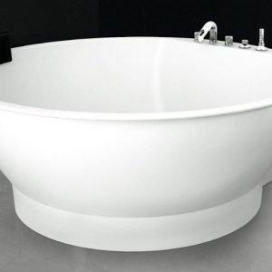 Kylpyamme Round 160 ylivuotosuojalla valumarmori valkoinen ei hanareikiä