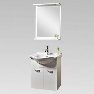 Kylpyhuoneen kalustepaketti Bathlife Ideal 550 alakaappi + pesuallas + peili valkoinen