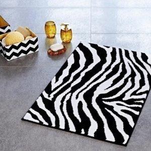 Kylpyhuonematto Ridder Zebra 55x50 musta-valkoinen