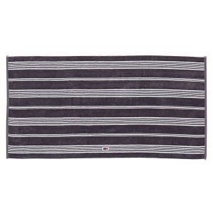Lexington Striped Velour Pyyheliina Charcoal / Valkea 100x150 Cm
