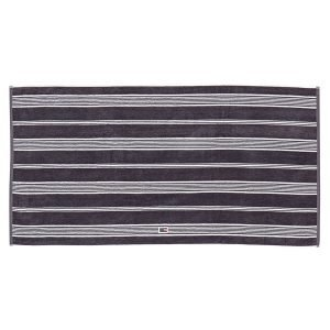 Lexington Striped Velour Pyyheliina Charcoal / Valkea 30x50 Cm