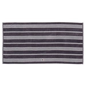 Lexington Striped Velour Pyyheliina Charcoal / Valkea 70x130 Cm
