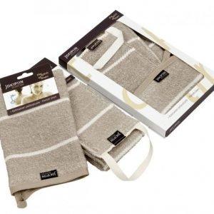 Liituraita-selänpesin ja- pesukinnas pellava lahjapaketti