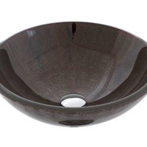 Malja-allas Grana Arabis Ø 420x145 mm lasi ruskea kirjainkuvioitu