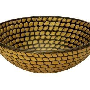 Malja-allas Grana Prunella Ø 425x140 mm lasi keltainen/ruskea kuvioitu