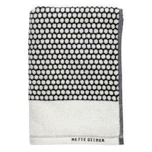 Mette Ditmer Grid Vieraspyyhe Musta / Luonnonvalkoinen