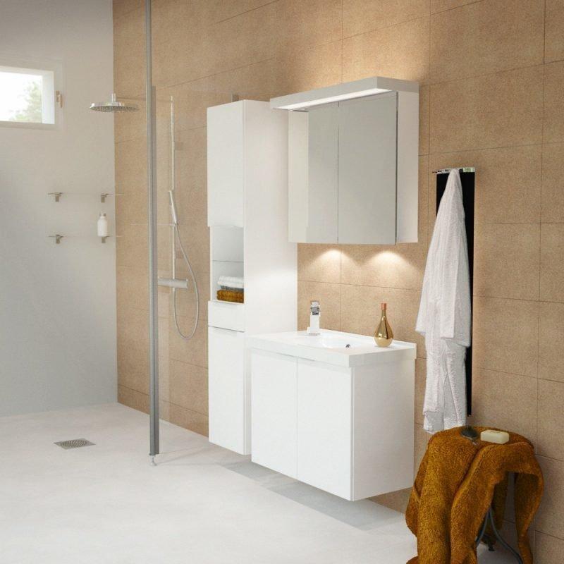 Peilikaappi Ecolight yleisvalolla 2-os pistorasialla ledipesuallasvalolla lev. 60-100 cm syv. 14