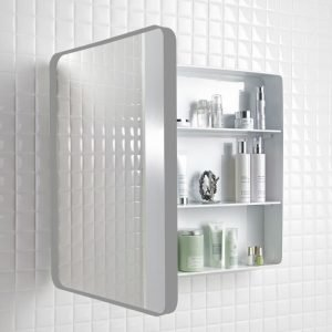 Peilikaappi Holger 45x60x12 cm metalli graftiitinharmaa/runko valkoinen