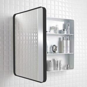 Peilikaappi Holger 45x60x12 cm metalli musta/runko valkoinen