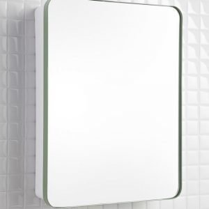 Peilikaappi Holger 45x60x12 cm metalli utuvihreä/runko valkoinen