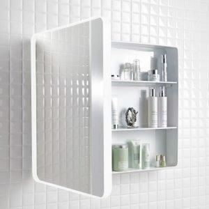 Peilikaappi Holger 45x60x12 cm metalli valkoinen/runko valkoinen