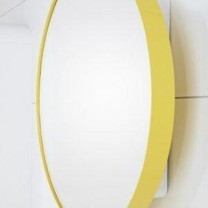 Peilikaappi Jenny Ø 60 cm metalli keltainen/runko valkoinen