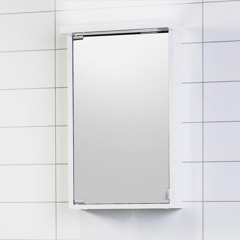 Peilikaappi Noro Alva 420 valkoinen matta valaistuksella ja pistorasialla