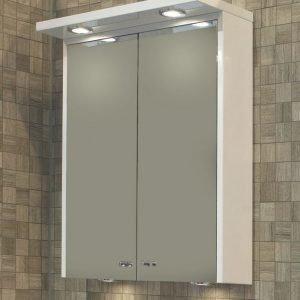 Peilikaappi Noro Polo 600 ylä/alavalaistuksella ja pistorasialla valkoinen kiiltävä