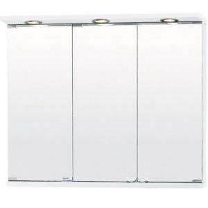 Peilikaappi suoralla LED-lipalla 2-os pistorasia 3 peiliä 75-90 cm valkoinen