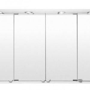 Peilikaappi suoralla LED-lipalla kahden altaan allaskaapille 2-os pistorasia 4 peiliä 125 cm eri värejä