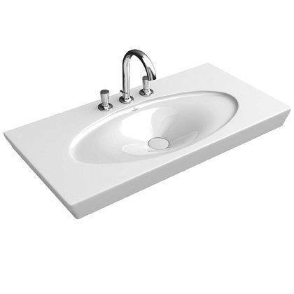 Pesuallas Ceramicplus-pinnoitteella Villeroy & Boch La Belle 6124 1000x490 mm Valkoinen Alpin + kupu seinäviemäröintiin