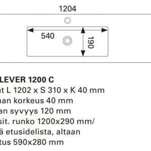 Pesuallas Otsoson Miniclever 1200 1202x310x40 allas keskellä valkoinen