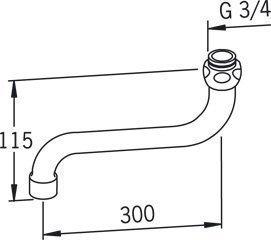 S-juoksuputki Oras 211430 pituus 300 mm