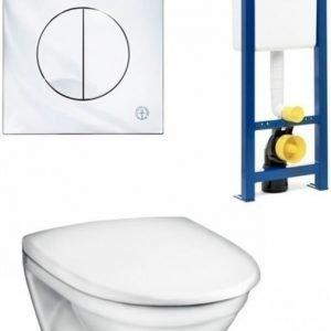 Seinä-WC-istuinpaketti Gustavsberg Nautic 5530 Soft close -kannella täydellinen toimitus krominen huuhtelupainike