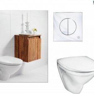 Seinä-WC-istuinpaketti Gustavsberg Nautic 5530 täydellinen toimitus krominen huuhtelupainike