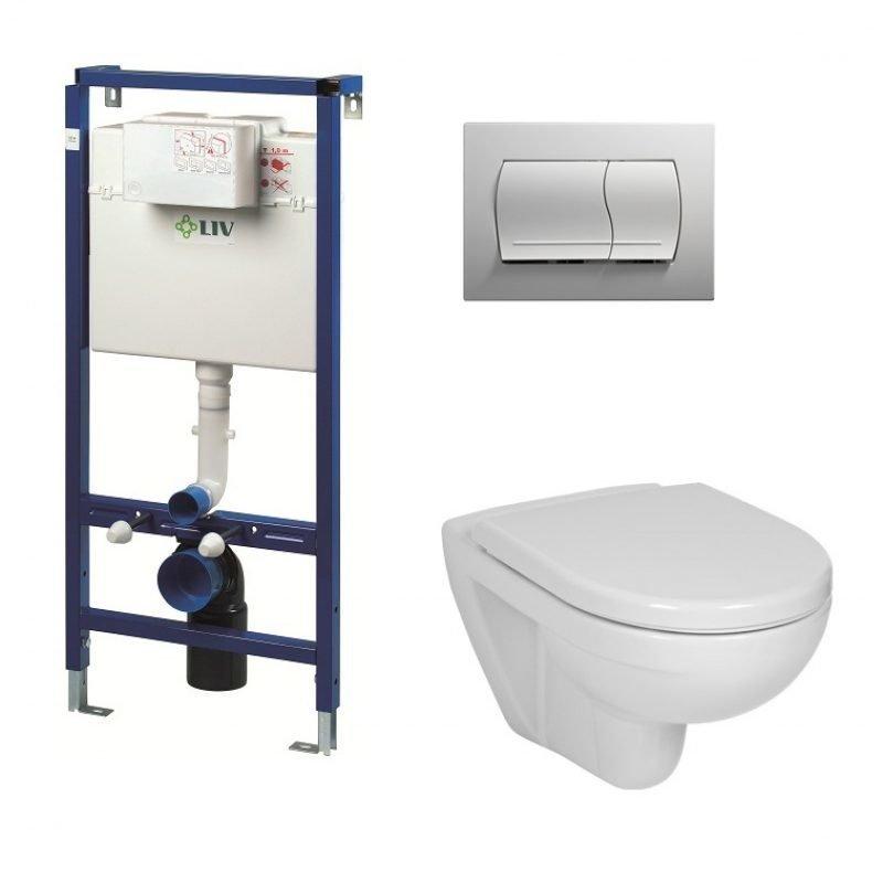 Seinä WC-istuinpaketti LIV FIX-530 valkoisella painikkeella ja Lyraplus istuimella sekä kannella