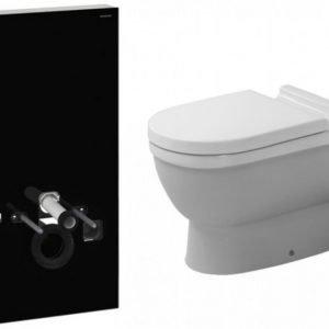 Seinä-WC -paketti Duravit Starck3 Geberit Monolith musta