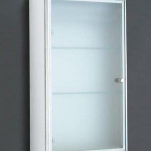 Seinäkaappi Forma 40x70x15 cm huurrelasiovi + 2 lasihyllyä valkoinen