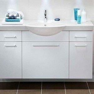 Sivukaappi IDO Select Medium 297x650x370 mm laatikolla valkoinen korkeakiilto