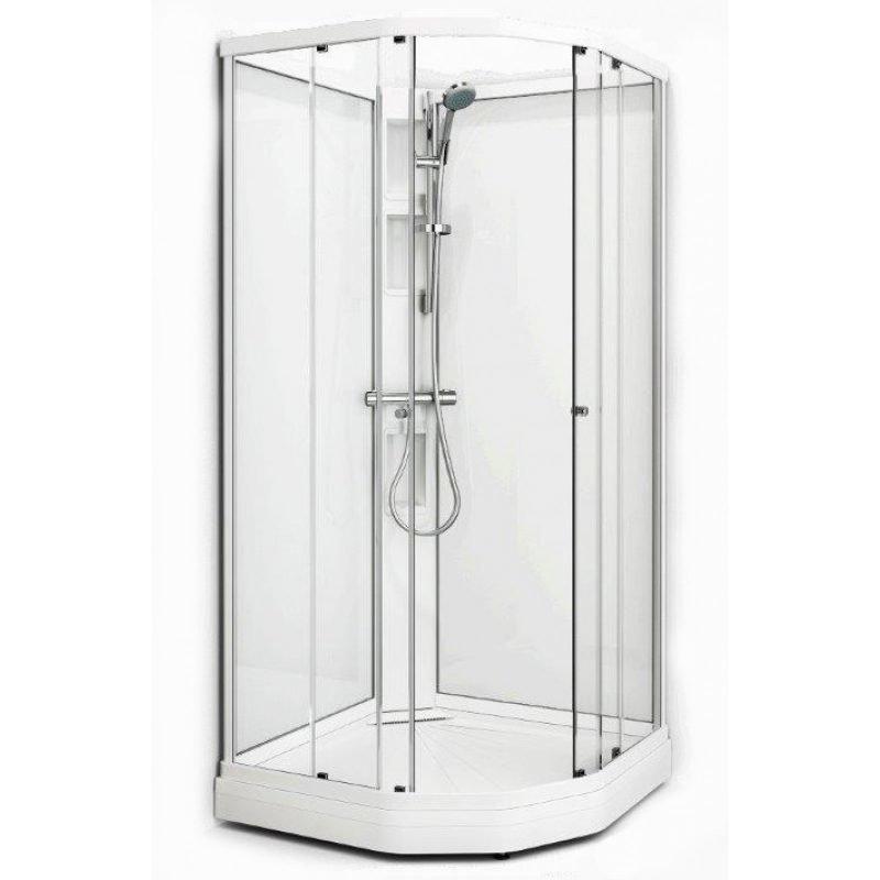 Suihkukaappi Fjord Semi 101x101 valkoinen profiili/kirkas lasi