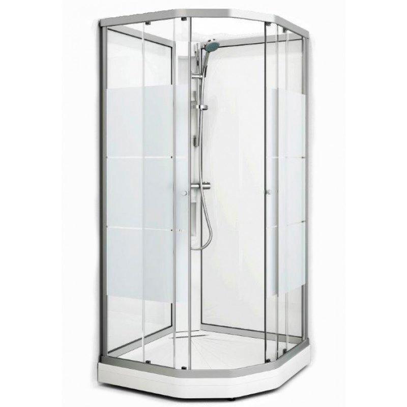 Suihkukaappi Fjord Semi 101x101 valkoinen profiili/screen lasi
