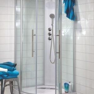 Suihkukaappi Noro Wave 900x900x2090 mm mattahopea/lasi kirkas