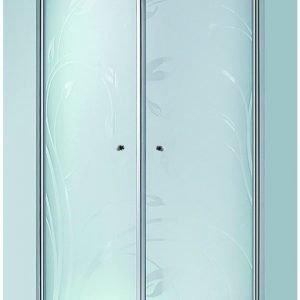 Suihkunurkkaus LaSpa Andante Nuevo 90x90x195 cm matta-alumiini kuviolasi