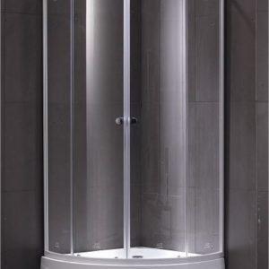 Suihkunurkkaus LaSpa Piano Giusto 80 80x80x195 cm matta-alumiini valkoisilla raidoilla kirkas turvalasi