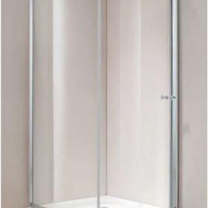 Suihkunurkkaus Vivace Giusto 90x90x195 cm harmaa turvalasi/matta hopea