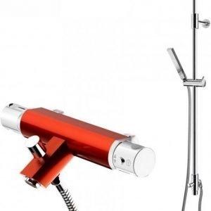 Suihkusetti Gustavsberg G1 punaisella Coloric termostaattihana vaihdinjuoksuputkella
