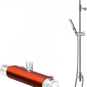 Suihkusetti Gustavsberg G1 punaisella Coloric termostaattihanalla