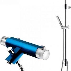 Suihkusetti Gustavsberg G1 sinisellä Coloric termostaattihana vaihdinjuoksuputkella
