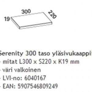Taso Otsoson Serenity 300 300x220x19 mm valkoinen yläsivukaappiin