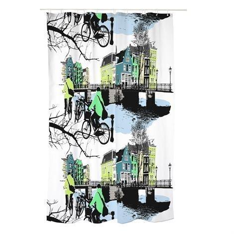 Vallila Amsterdam Suihkuverho Petrooli Sininen